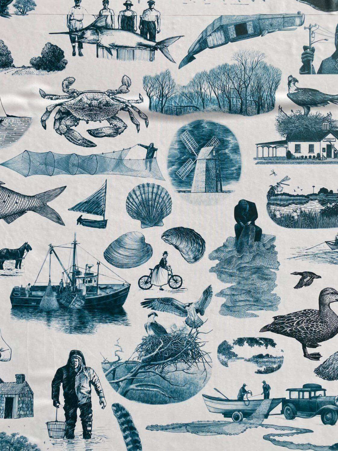 toile wallpaper depicting traditional life in the hamptons, part of bonac blind