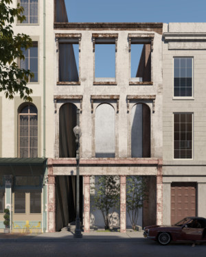 Image of the freestanding facade of 309 Magazine Street in New Orleans