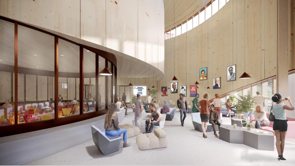 Interior rendering of the new rice university student center with curving walls
