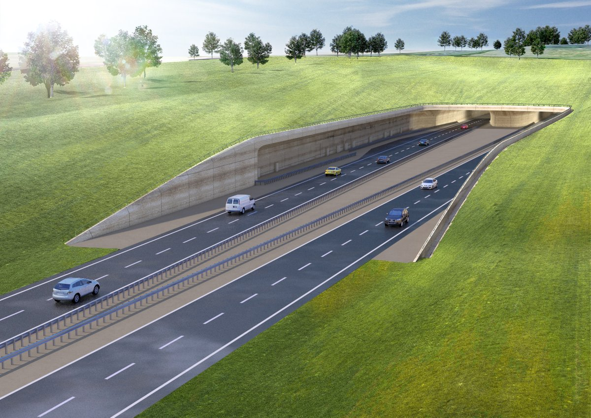 Rendering of a two-road highway tunnel