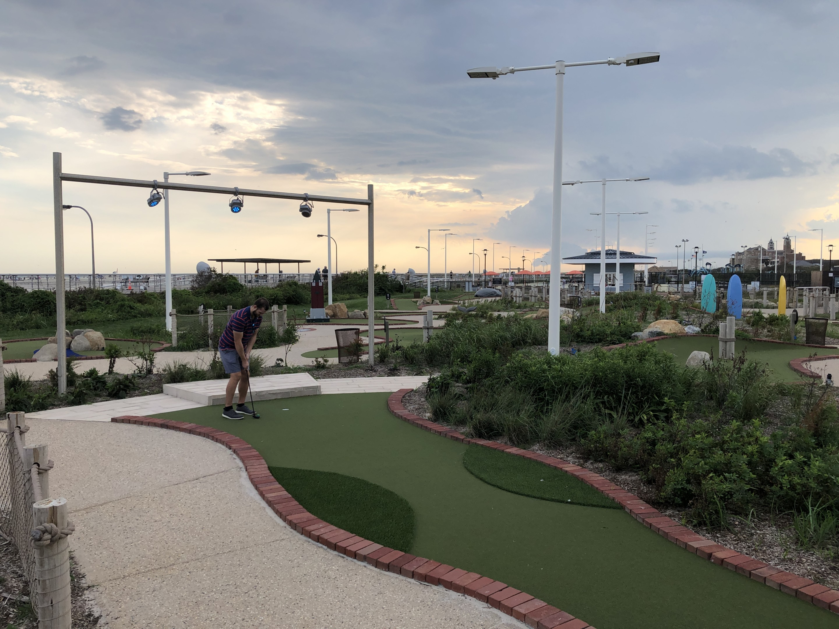 Looking at artificial turf on a mini golf course