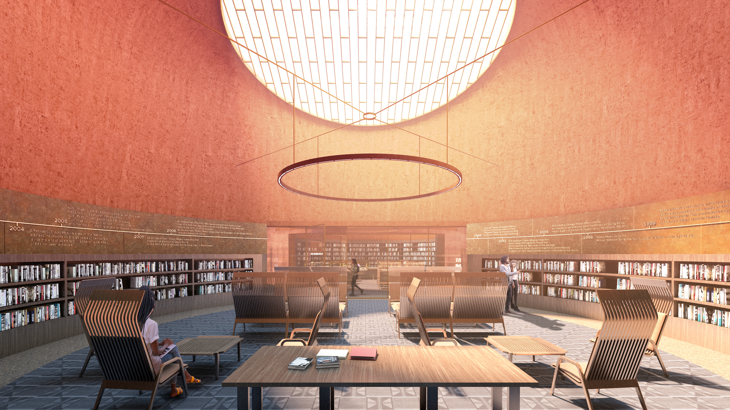 a round reading room with a massive skylight