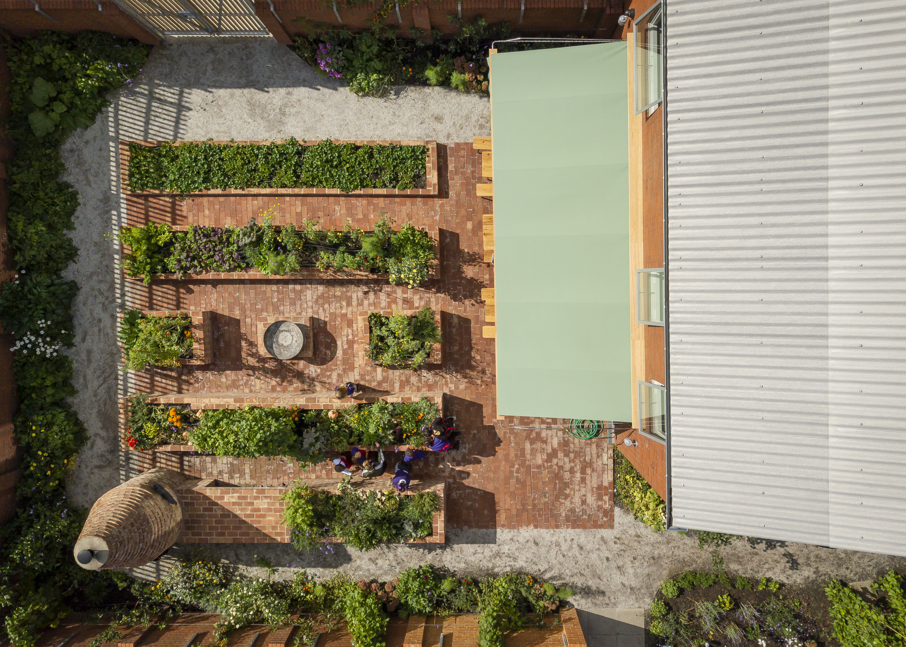 Aerial photo of a brick garden