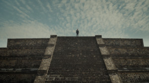 An ADFF film showing a woman on top of a stone stairway