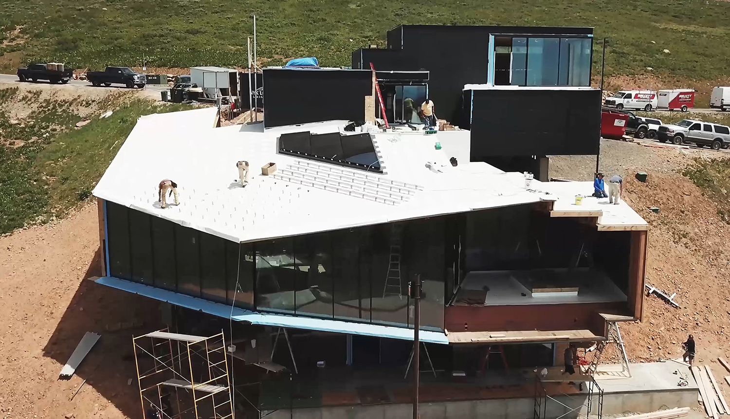Aerial image of the Dark Chalet under construction