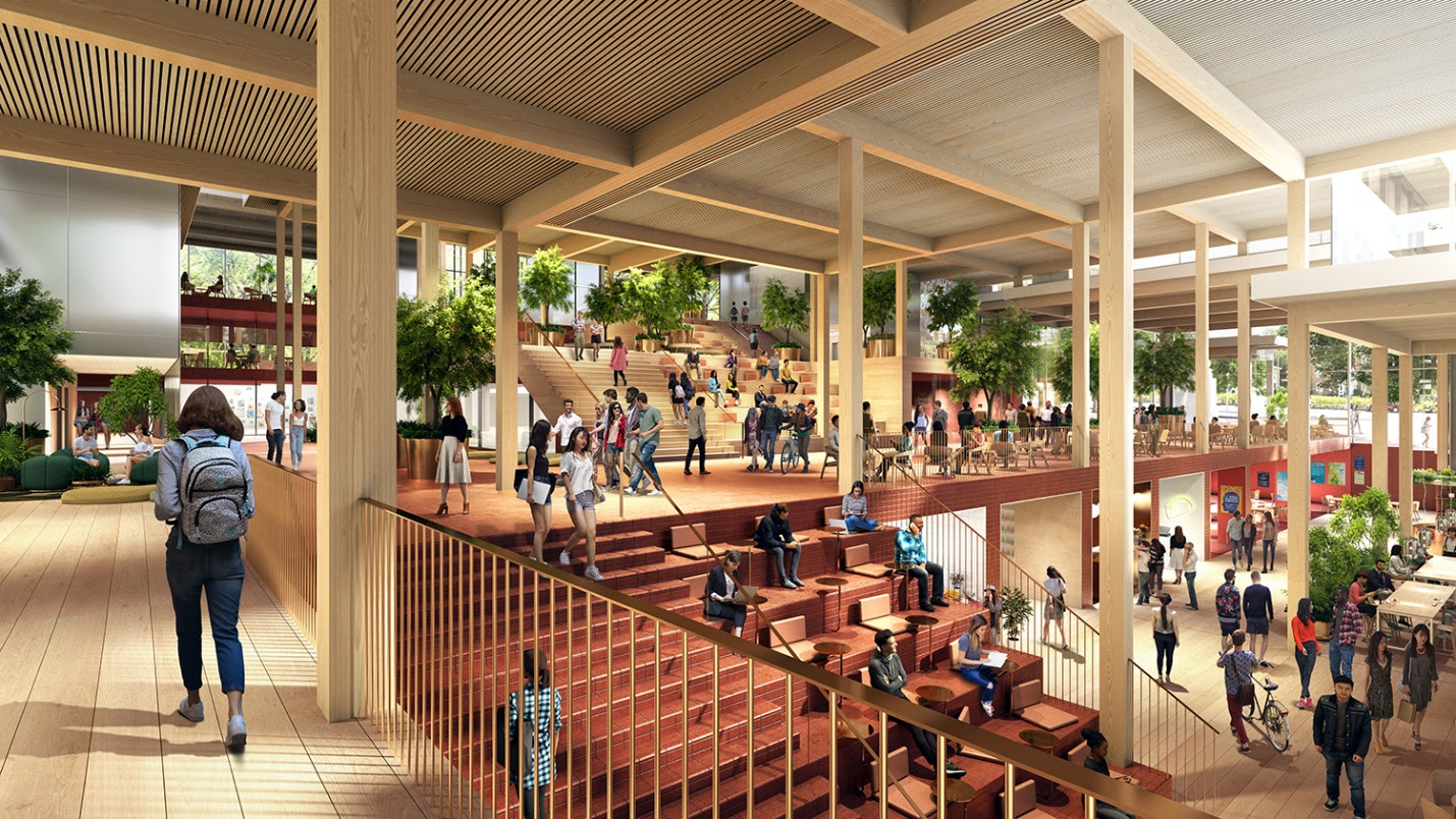 Interior rendering of a square student center decked out in timber
