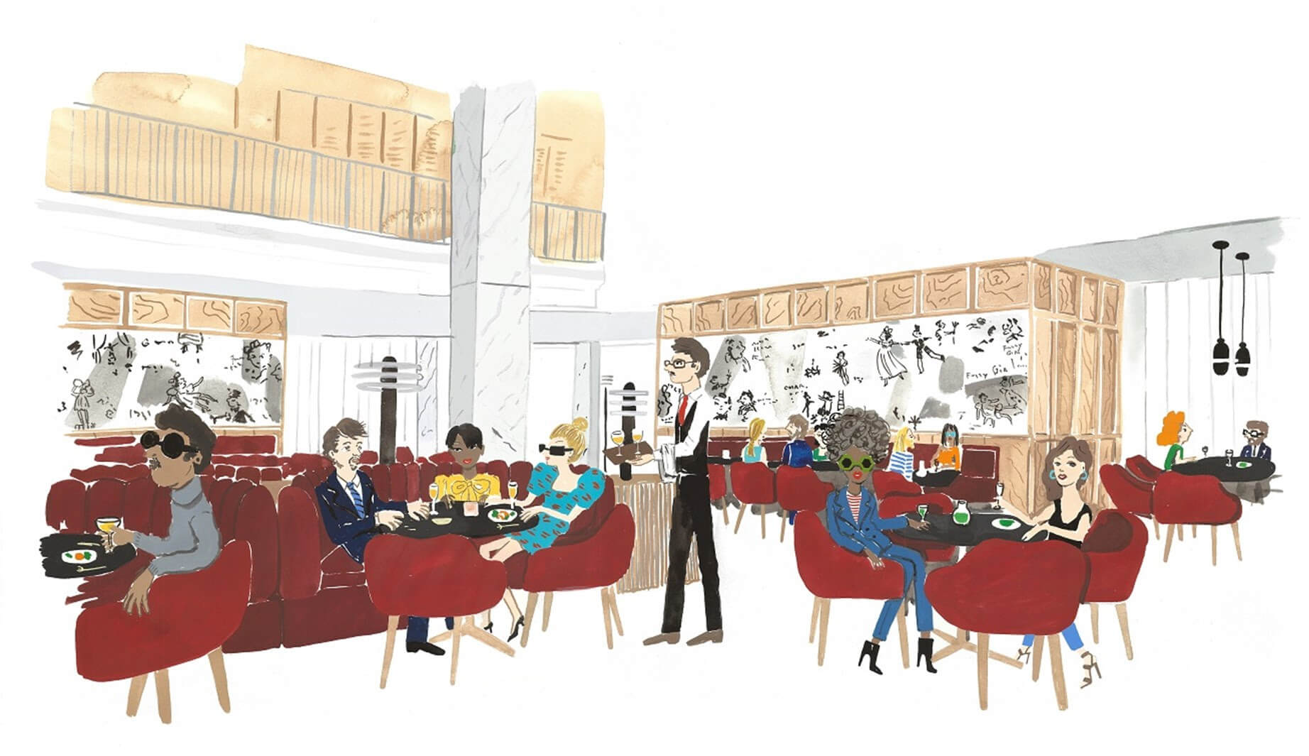 Interior drawing of a chic restaurant
