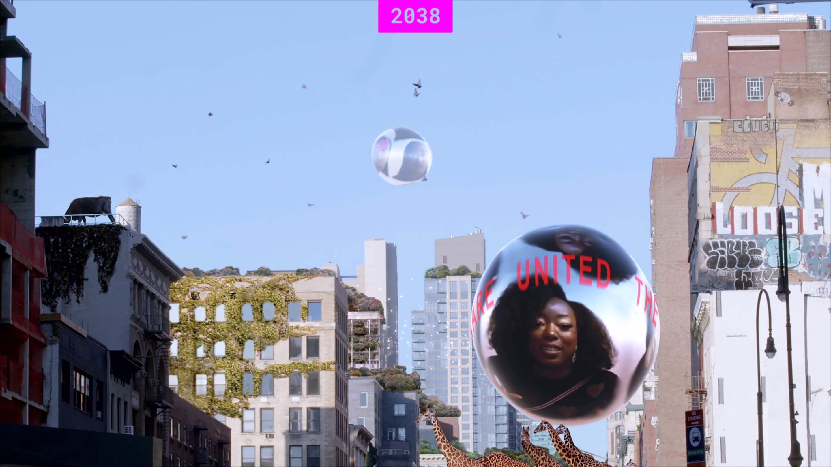Film of a documentary with floating orbs on a city background